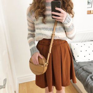 Stunning Rust Colored Belted High Waisted Skirt